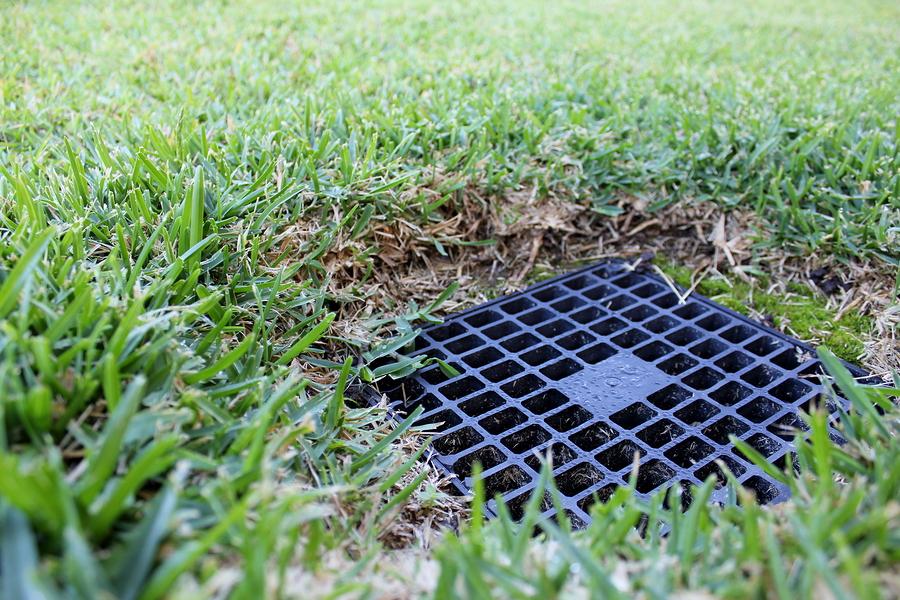 Close up of backyard drainage inlet