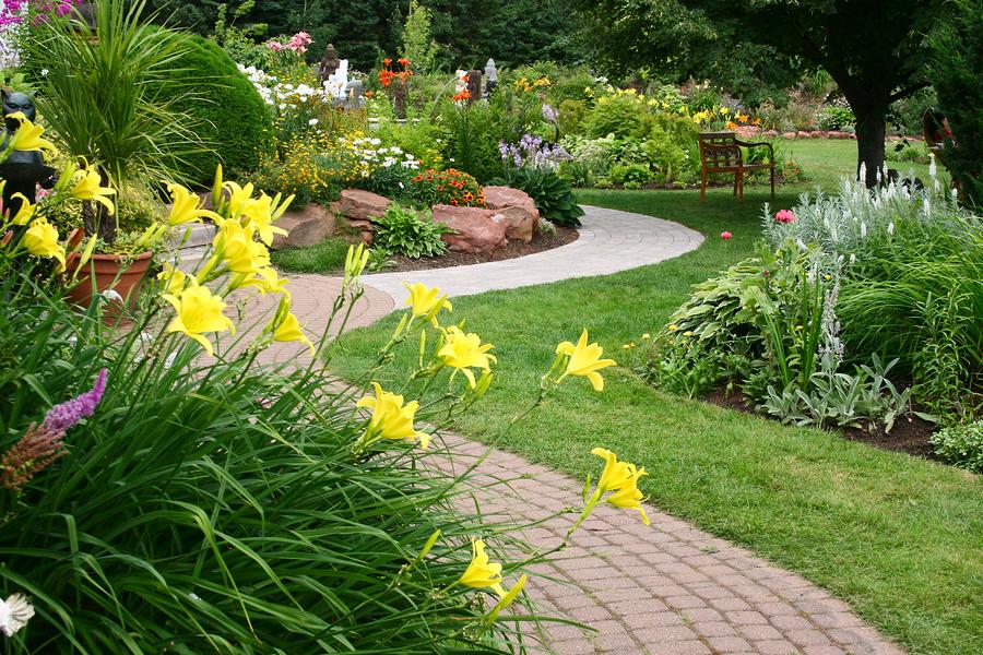 Lush Landscape with Sprinkler System